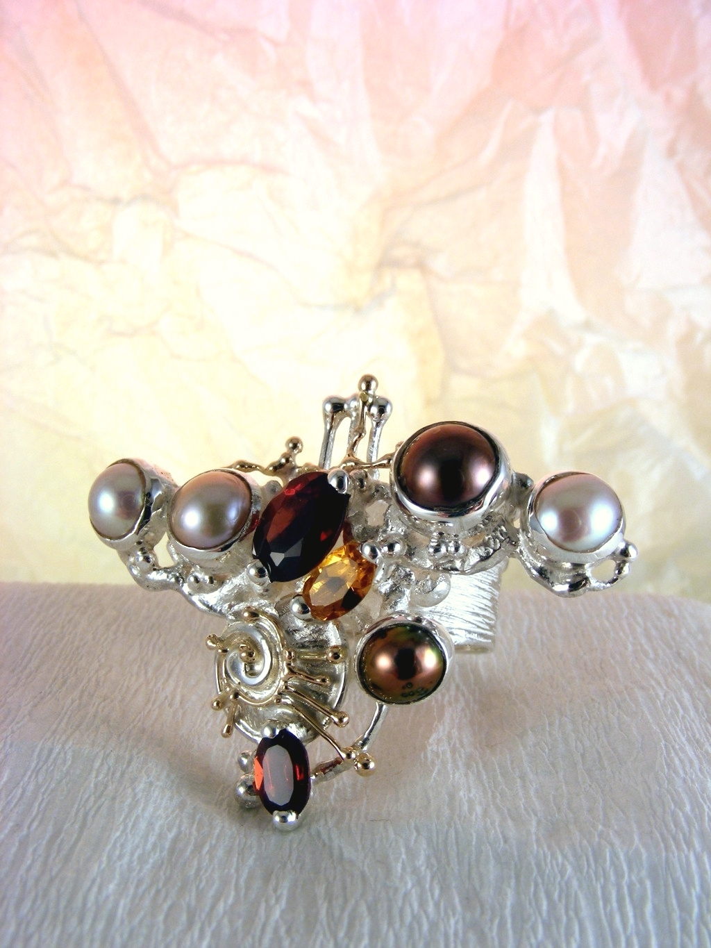 Original Handcrafted, Sterling Silver og Gold, Citrine, Garnet Pearl, Ring with Citrine and Garnet #3627