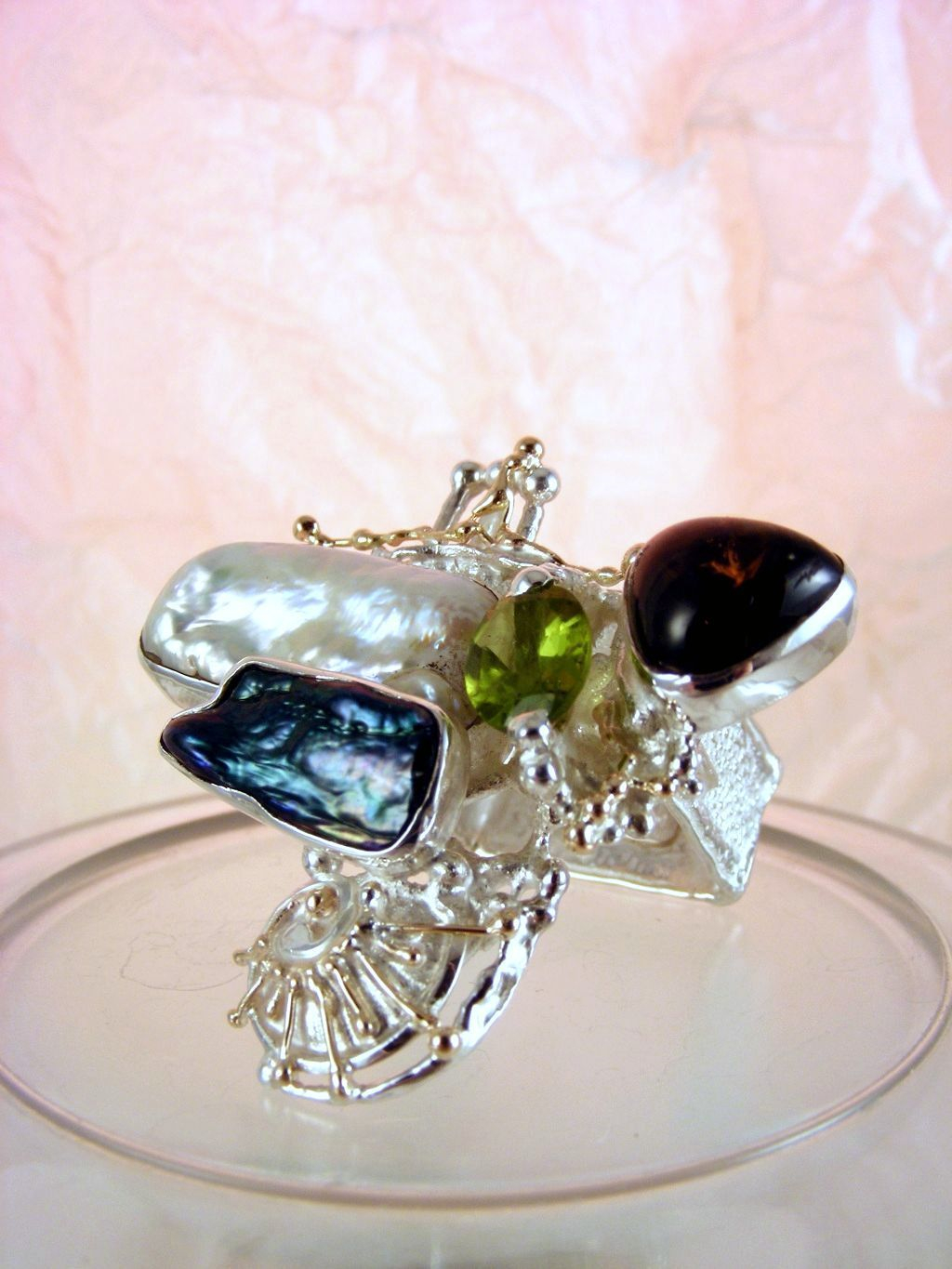 Ring with Tourmaline #8932, Original Handcrafted, Sterling silver and Gold, Peridot, Tourmaline, Pearls