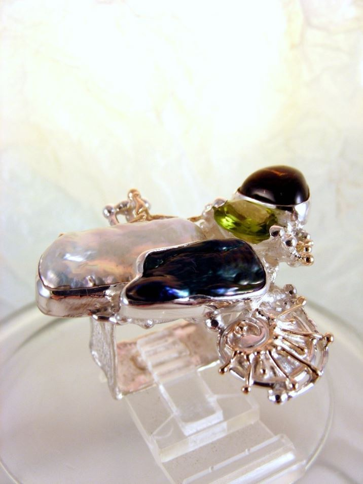 Original Handmade in Sterling Silver and 14 Karat Gold, Facet cut Oval Peridot, Cabochon Tourmaline, Biwa Pearls, Amethyst and Blue Topaz One of a Kind Original Handmade Ring #8932