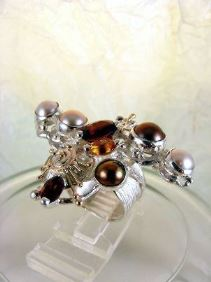 Original Handmade by Artist Designer Maker, Gregory Pyra Piro One of a Kind Original #Handmade #Sterling #Silver and #Gold, Jewellery in #London, #Art Jewellery, #Jewellery Handcrafted by #Artist, #Citrine and #Garnet #Ring 3627