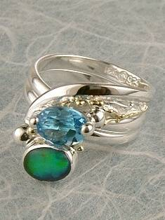 Original Handmade by Artist Designer Maker, Gregory Pyra Piro One of a Kind Original #Handmade #Sterling #Silver and #Gold, Jewellery in #London, #Art Jewellery, #Jewellery Handcrafted by #Artist, #Opal #Ring 5682