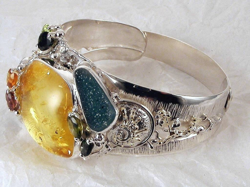 Gregory Pyra Piro One of a kind Original Handmade Bracelet Watch in Sterling Silver and 18 Karat Gold with Amber, Tourmaline, Peridot, Garnet, and Drusy