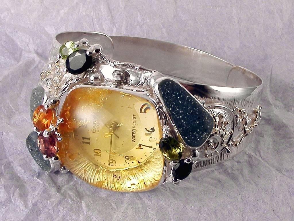 Bracelet Watch 8394, Sterling Silver and Gold, Amber, Tourmaline, Garnet, Citrine, Drusy, Original Handmade