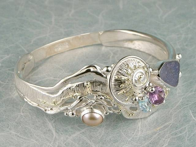 Visit my website to see this bracelet http://www.designerartjewellery.com/bracelets Gregory Pyra Piro One of a Kind Original #Handmade #Gold and #Sterling #Silver #Bracelet 9535