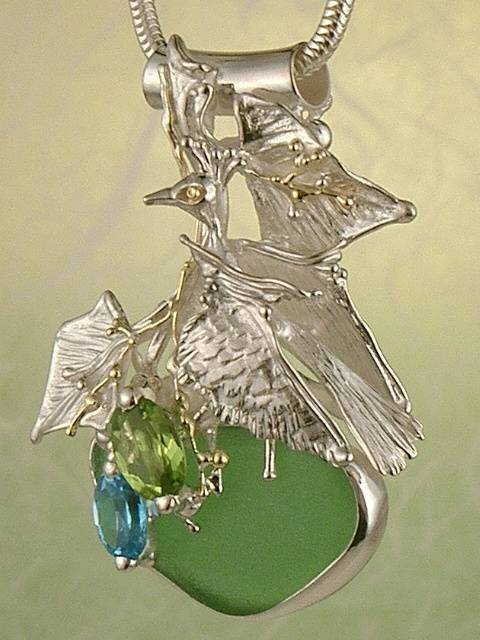 One of a Kind Original Handmade Pendant 3618 in Sterling Silver and 18 Karat gold with Seaglass, Blue Topaz, and Peridot