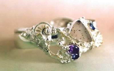 Gregory Pyra Piro One of a Kind Bracelet in Sterling Silver and 18 Karat Gold with Drusy, Iolite, and Amethyst