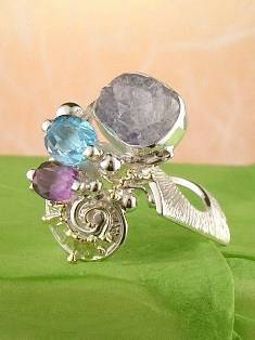 Original Handmade by Artist Designer Maker, Gregory Pyra Piro One of a Kind Original #Handmade #Sterling #Silver and #Gold, Jewellery in #London, #Art Jewellery, #Jewellery Handcrafted by #Artist, #Amethyst and Blue Topaz #Ring 1832