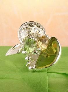 Original Handmade by Artist Designer Maker, Gregory Pyra Piro One of a Kind Original #Handmade #Sterling #Silver and #Gold, Jewellery in #London, #Art Jewellery, #Jewellery Handcrafted by #Artist, #Citrine and #Peridot #Ring 7828