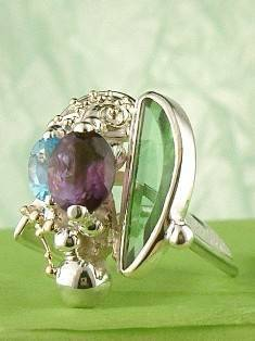 Original Handmade by Artist Designer Maker, Gregory Pyra Piro One of a Kind Original #Handmade #Sterling #Silver and #Gold, Jewellery in #London, #Art Jewellery, #Jewellery Handcrafted by #Artist, #Amethyst and Blue Topaz #Ring 7563