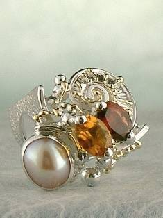 Original Handmade by Artist Designer Maker, Gregory Pyra Piro One of a Kind Original #Handmade #Sterling #Silver and #Gold, Jewellery in #London, #Art Jewellery, #Jewellery Handcrafted by #Artist, #Citrine and #Garnet #Ring 3782