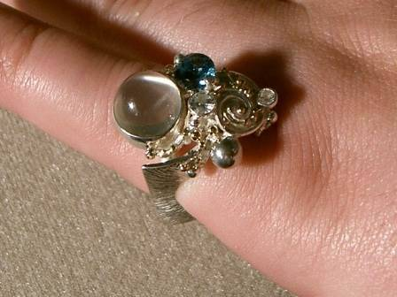 Gregory Pyra Piro One of a Kind Ring in Sterling Silver and 18 Karat Gold with Moonstone, Blue Topaz, and Diamonds