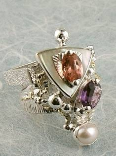 Original Handmade by Artist Designer Maker, Gregory Pyra Piro One of a Kind Original #Handmade #Sterling #Silver and #Gold, Jewellery in #London, #Art Jewellery, #Jewellery Handcrafted by #Artist, #Tourmaline #Ring 2849
