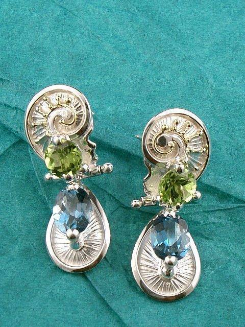Follow us, Join us on Facebook, and visit http://www.designerartjewellery.com, Gregory Pyra Piro One of a Kind Handmade Jewellery in London in Silver and Gold, Bespoke Jewellery with Semi Precious Stones, #Peridot and Blue Topaz #Earrings 3494