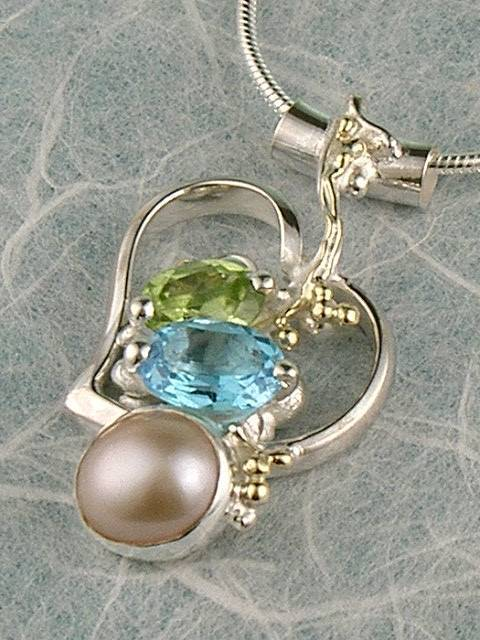 Heart Pendant in Sterling Silver and 14 Karat Gold with Blue Topaz, Peridot, and Pearl