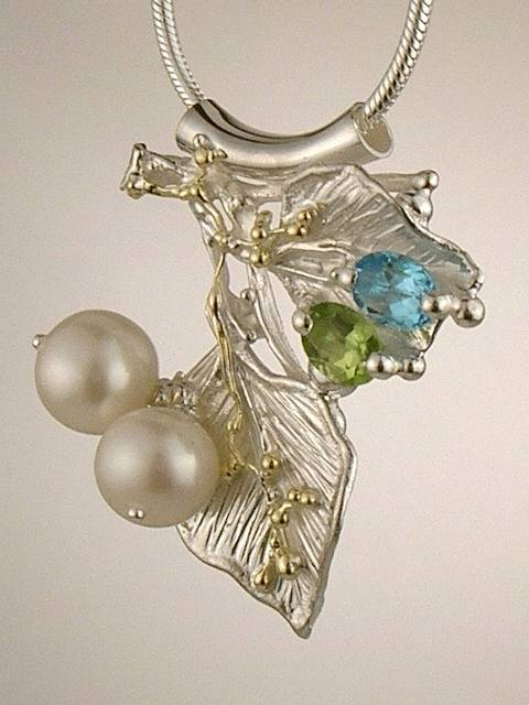 One of a Kind Handmade Original Pendant 7965 in Sterling Silver and 18 Karat Gold with Peridot, Blue Topaz, and Pearls