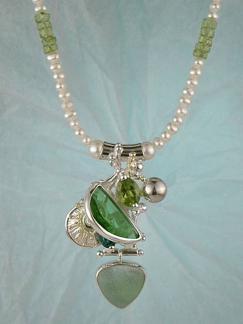 One of a Kind Original Handmade Necklace 2085 in Sterling Silver and 18 Karat Gold with Peridot, Blue Topaz, Pearls, and Glass