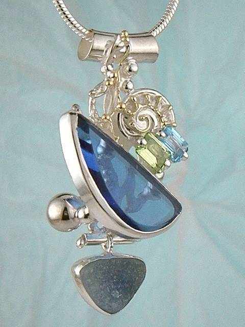 Follow us, Join us on Facebook, and visit http://www.designerartjewellery.com, Gregory Pyra Piro One of a Kind Handmade Jewellery in London in Silver and Gold, Bespoke Jewellery with Semi Precious Stones, #Peridot and Blue Topaz #Pendant 9400