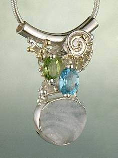 Follow us, Join us on Facebook, and visit http://www.designerartjewellery.com, Gregory Pyra Piro One of a Kind Handmade Jewellery in London in Silver and Gold, Bespoke Jewellery with Semi Precious Stones, #Peridot and Blue Topaz #Pendant 1285