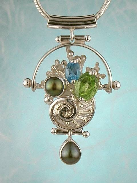 Follow us, Join us on Facebook, and visit http://www.designerartjewellery.com, Gregory Pyra Piro One of a Kind Handmade Jewellery in London in Silver and Gold, Bespoke Jewellery with Semi Precious Stones, #Peridot and Blue Topaz #Pendant 9200