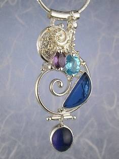 Original Handmade by Artist Designer Maker, Gregory Pyra Piro One of a Kind Original #Handmade #Sterling #Silver and #Gold, Jewellery in #London, #Art Jewellery, #Jewellery Handcrafted by #Artist, #Amethyst and Blue Topaz #Pendant 5845