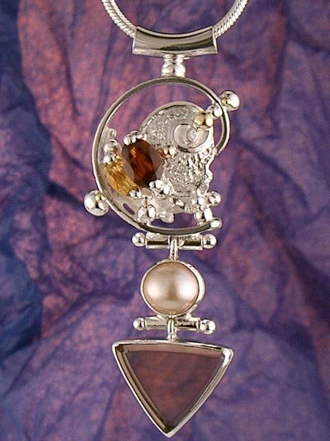 Original Handmade by Artist Designer Maker, Gregory Pyra Piro One of a Kind Original #Handmade #Sterling #Silver and #Gold, Jewellery in #London, #Art Jewellery, #Jewellery Handcrafted by #Artist, #Citrine and #Garnet #Pendant 4726