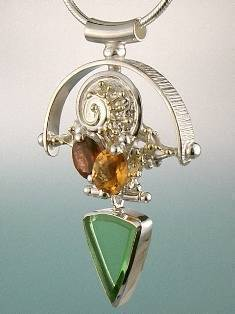 Original Handmade by Artist Designer Maker, Gregory Pyra Piro One of a Kind Original #Handmade #Sterling #Silver and #Gold, Jewellery in #London, #Art Jewellery, #Jewellery Handcrafted by #Artist, #Citrine and #Garnet #Pendant 4927