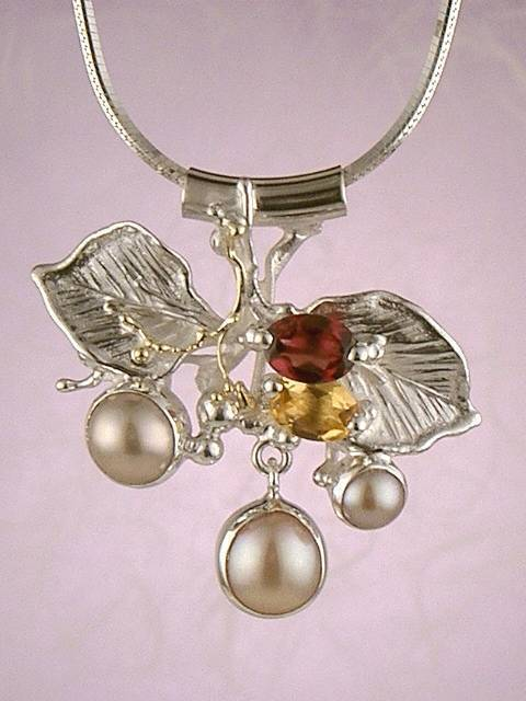 Original Handmade by Artist Designer Maker, Gregory Pyra Piro One of a Kind Original #Handmade #Sterling #Silver and #Gold, Jewellery in #London, #Art Jewellery, #Jewellery Handcrafted by #Artist, #Citrine and #Garnet #Pendant 2759