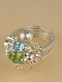 Follow us, Join us on Facebook, and visit http://www.designerartjewellery.com, Gregory Pyra Piro One of a Kind Handmade Jewellery in London in Silver and Gold, Bespoke Jewellery with Semi Precious Stones, #Peridot and Blue Topaz #Ring 8650