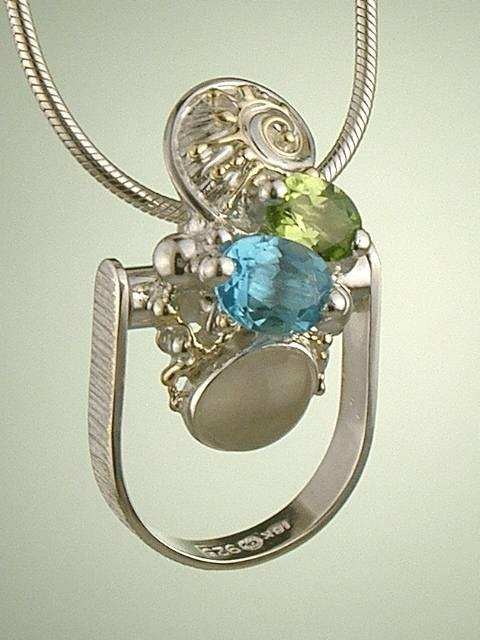 One of a Kind Original Handmade Pendant 6320 in Sterling Silver and 18 Karat gold with Moonstone, Blue Topaz, and Peridot