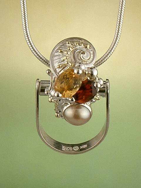 Get a Unique Ring Pendant like this that Works as both a Ring and a Pendant,  Gregory Pyra Piro, #Handmade #Sterling #Silver and #Gold, #Art Jewellery, #Jewellery Handcrafted by #Artist, #Ring Pendant 2613