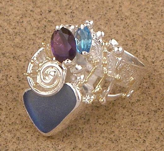 Original Handmade by Artist Designer Maker, Gregory Pyra Piro One of a Kind Original #Handmade #Sterling #Silver and #Gold, Jewellery in #London, #Art Jewellery, #Jewellery Handcrafted by #Artist, #Amethyst and Blue Topaz #Ring 6582