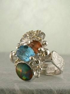Original Handmade by Artist Designer Maker, Gregory Pyra Piro One of a Kind Original #Handmade #Sterling #Silver and #Gold, Jewellery in #London, #Art Jewellery, #Jewellery Handcrafted by #Artist, #Opal #Ring Pendant 3692