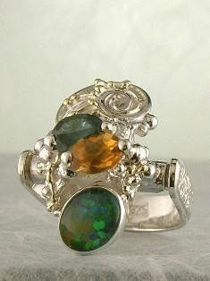 Original Handmade by Artist Designer Maker, Gregory Pyra Piro One of a Kind Original #Handmade #Sterling #Silver and #Gold, Jewellery in #London, #Art Jewellery, #Jewellery Handcrafted by #Artist, #Opal #Ring Pendant 5083