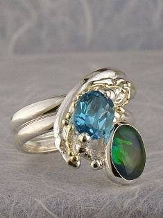 Original Handmade by Artist Designer Maker, Gregory Pyra Piro One of a Kind Original #Handmade #Sterling #Silver and #Gold, Jewellery in #London, #Art Jewellery, #Jewellery Handcrafted by #Artist, #Opal #Ring 6849