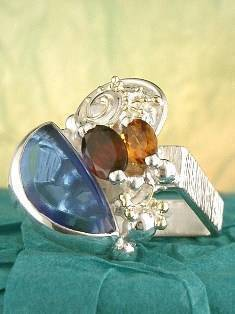 Original Handmade by Artist Designer Maker, Gregory Pyra Piro One of a Kind Original #Handmade #Sterling #Silver and #Gold, Jewellery in #London, #Art Jewellery, #Jewellery Handcrafted by #Artist, #Citrine and #Garnet #Ring 6832