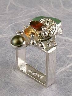 Original Handmade by Artist Designer Maker, Gregory Pyra Piro One of a Kind Original #Handmade #Sterling #Silver and #Gold, Jewellery in #London, #Art Jewellery, #Jewellery Handcrafted by #Artist, #Citrine and #Garnet #Ring 4264