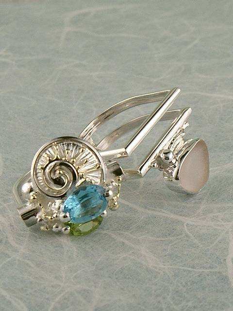 Original Handmade, Silver and Gold, Blue Topaz, Peridot, Seaglass, Ring with Seaglass #6043