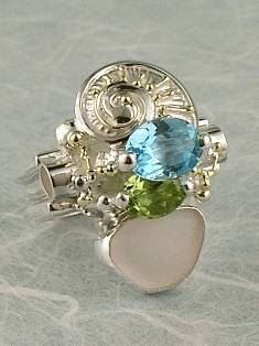 Follow us, Join us on Facebook, and visit http://www.designerartjewellery.com, Gregory Pyra Piro One of a Kind Handmade Jewellery in London in Silver and Gold, Bespoke Jewellery with Semi Precious Stones, #Peridot and Blue Topaz #Ring 6043