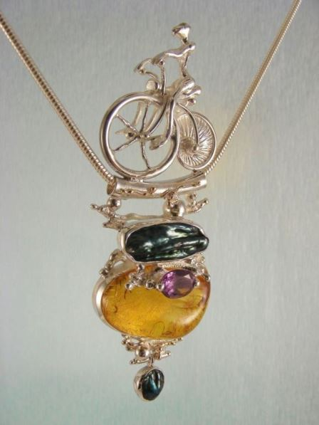 Gregory Pyra Piro One of a kind Original Handmade Bicycle Pendant 2533 in Sterling Silver and 14 Karat Gold with Amber, Amethyst, and pearls