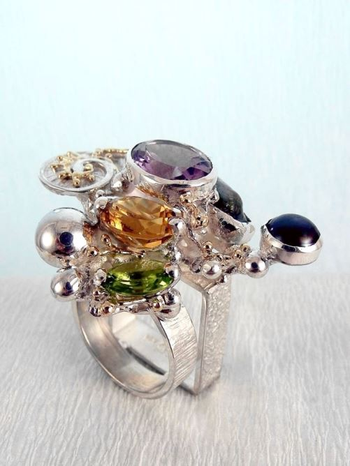 One of a Kind Handmade Gregory Pyra Piro Cyber Ring in Sterling Silver and 14 Karat Gold with Citrine, Peridot, Amethyst, and Pearl