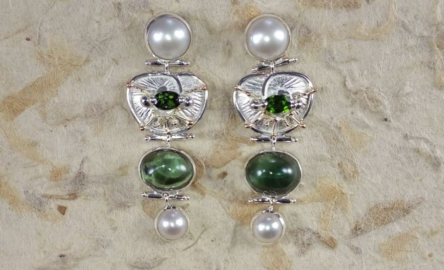 Earrings #2931, sterling silver and 14 karat gold, green tourmaline, fluorite, pearls, original handmade, one of a kind jewelry, Gregory Pyra Piro