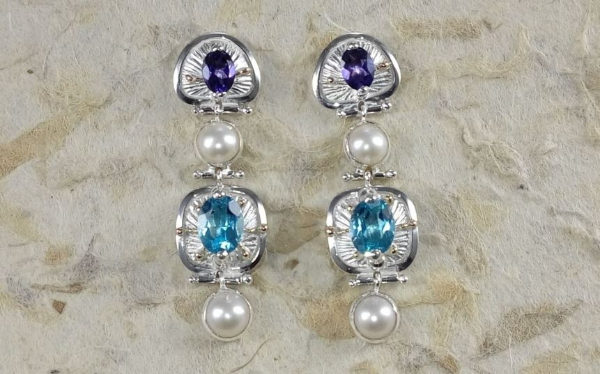 Earrings #2933, sterling silver and 14 karat gold, blue topaz, amethyst, pearls, original handmade, one of a kind jewelry, Gregory Pyra Piro