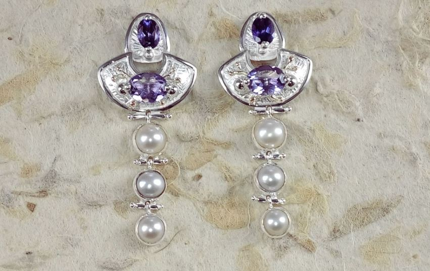 Earrings #2934, sterling silver and 14 karat gold, amethysts, pearls, original handmade, Gregory Pyra Piro