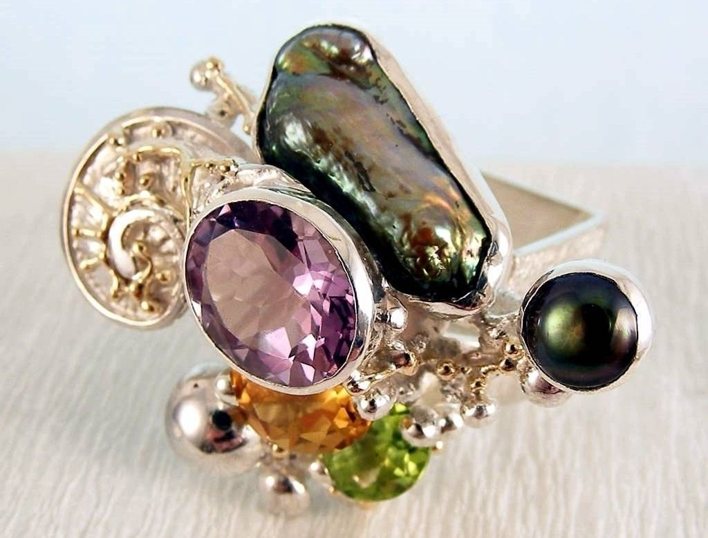 original maker's handcrafted jewellery, gregory pyra piro ring 1565, sterling silver, gold, peridot, citrine, amethyst, pearls, fine craft gallery jewellery for sale, art and craft gallery artisan handcrafted jewellery for sale, jewellery with ocean and seashell theme