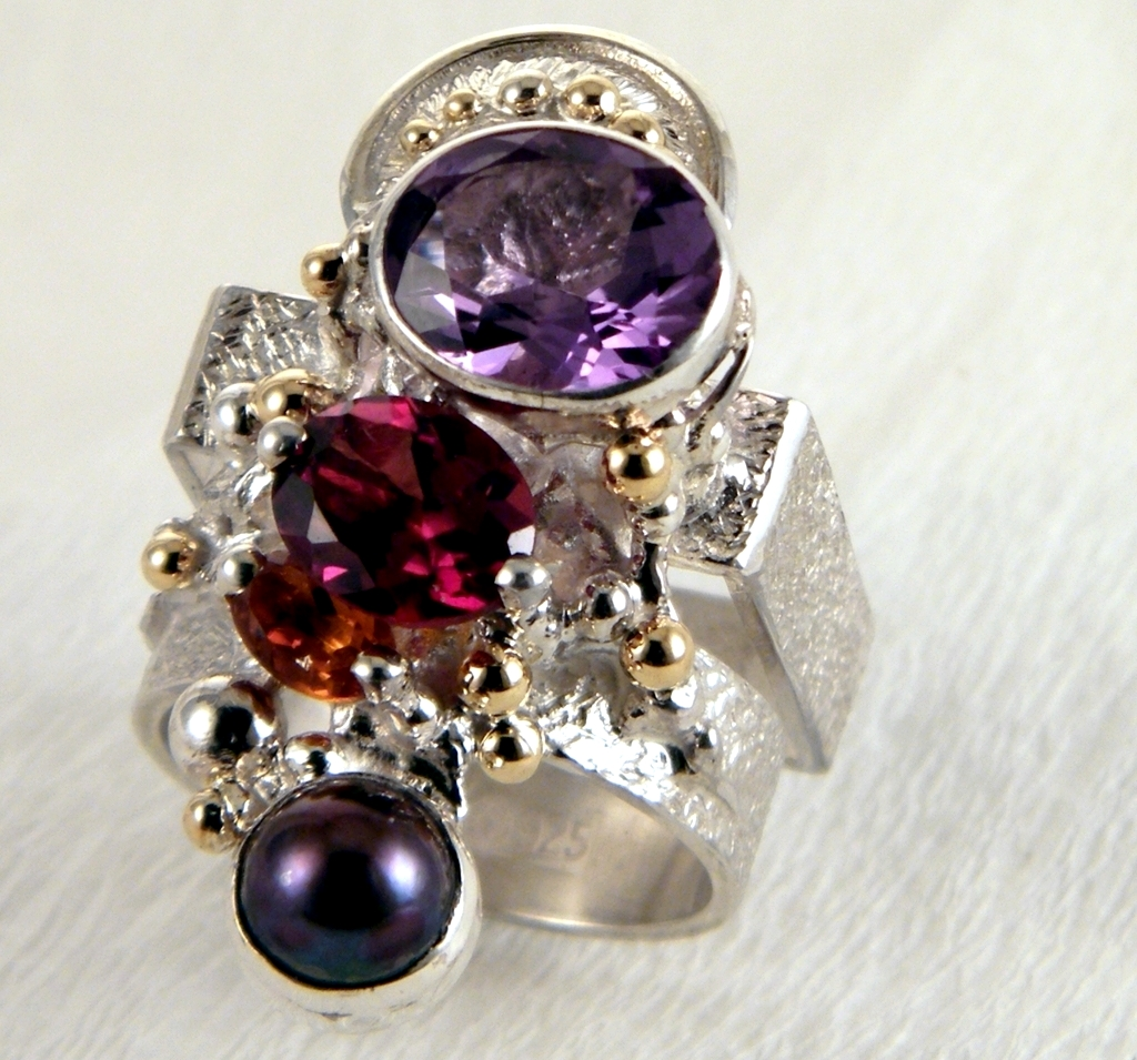 original maker's handcrafted jewellery, gregory pyra piro ring 2631, sterling silver, gold, amethyst, garnet, citrine, pearl, fine craft gallery jewellery for sale, art and craft gallery artisan handcrafted jewellery for sale, jewellery with ocean and seashell theme