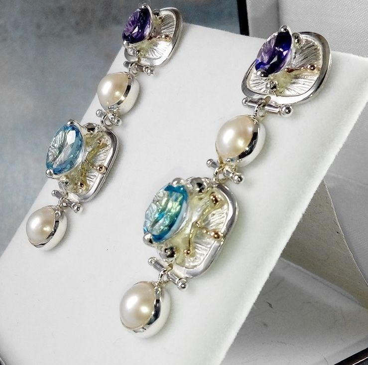 Earrings #2933, sterling silver and 14 karat gold, blue topaz, amethyst, pearls, original handmade, one of a kind jewelry, art jewelry, Gregory Pyra Piro