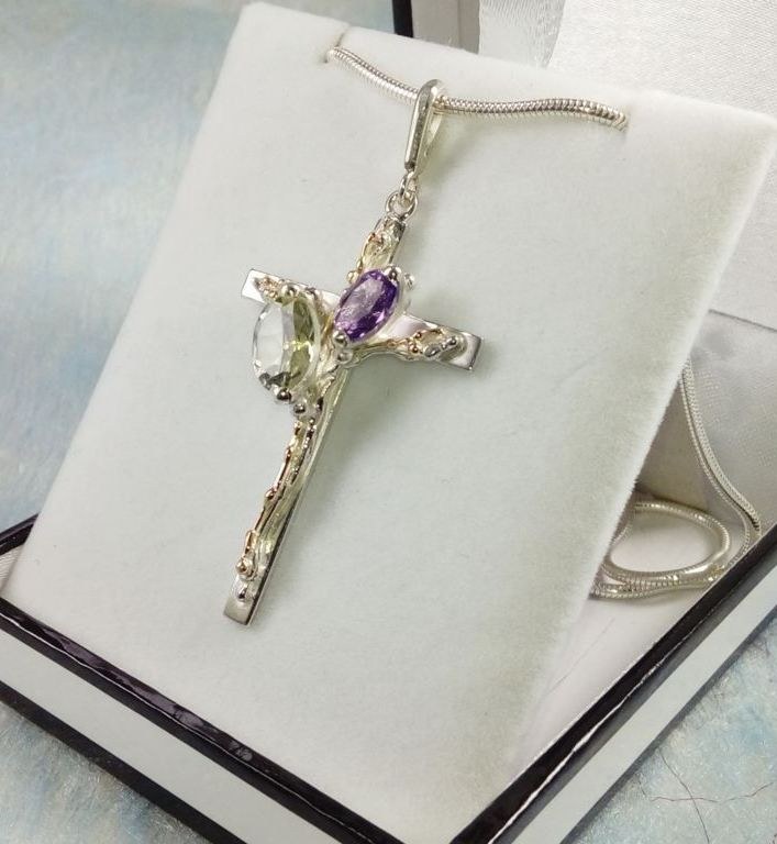 Cross Pendant #6392, sterling silver, gold, amethyst, prasiolite, original handmade, one of a kind jewellery, art jewellery, Gregory Pyra Piro