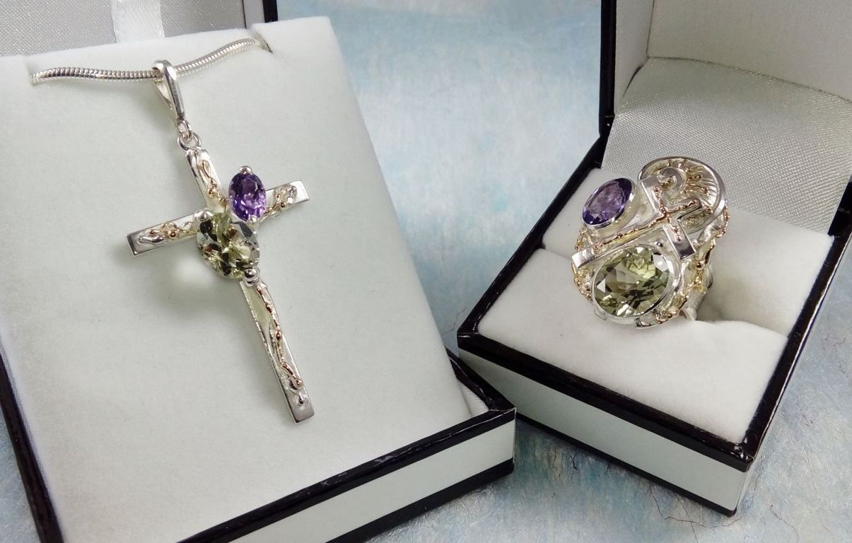 Cross Pendant #6392 and Cross Ring #6391, sterling silver, gold, amethyst, prasiolite, original handmade, one of a kind jewellery, art jewellery, Gregory Pyra Piro