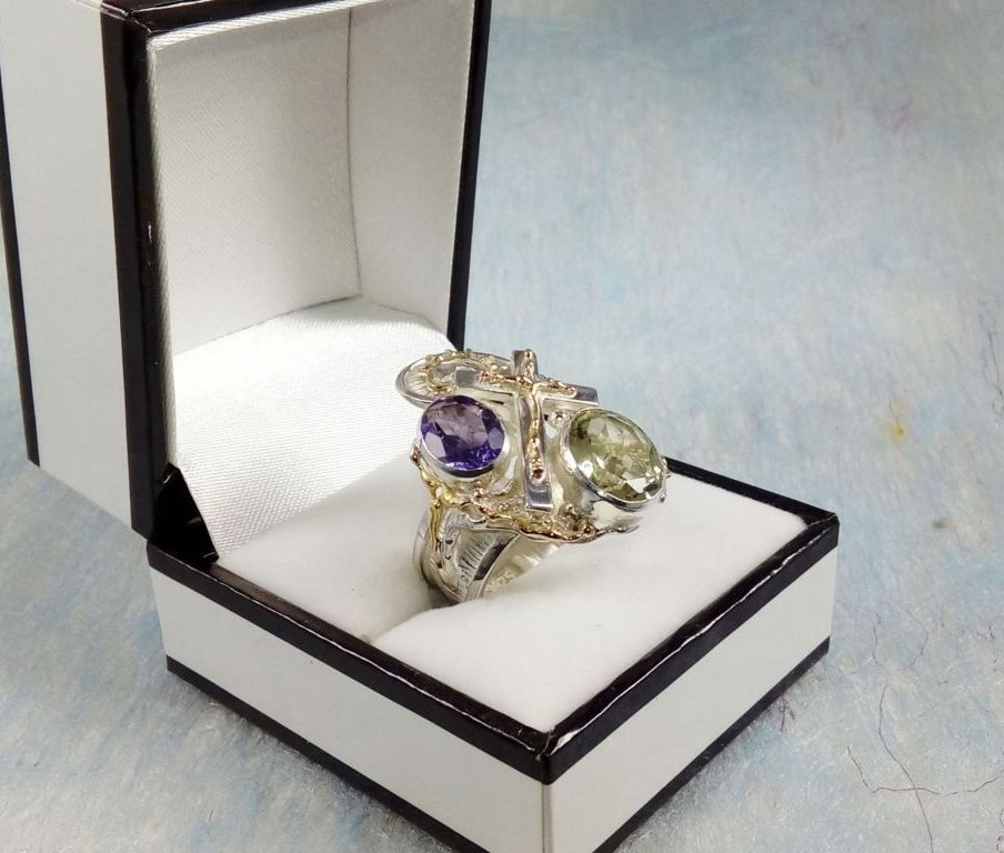 Cross Ring #6391, sterling silver, gold, amethyst, prasiolite, original handmade, one of a kind jewellery, art jewellery, Gregory Pyra Piro