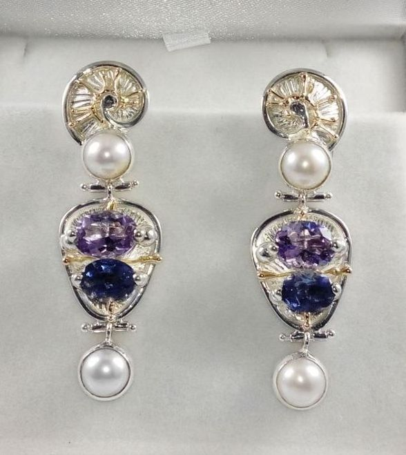 Earrings #2935, sterling silver and 14 karat gold, iolite, amethyst, pearls, original handmade, one of a kind jewelry, art jewelry, Gregory Pyra Piro